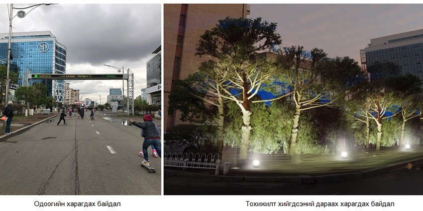 Current appearance of Seoul street VS after the landscaping