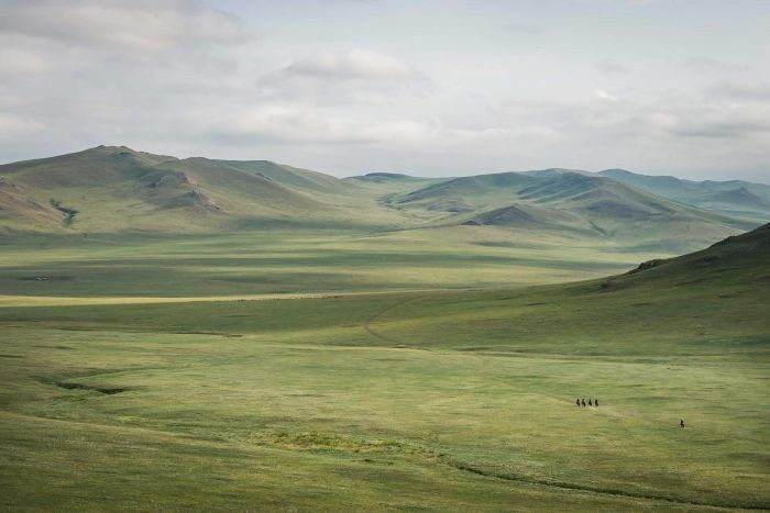 PHOTO: Riders are dwarfed by the vast landscapes of Mongolia. (Mongol Derby: Richard Dunwoody)