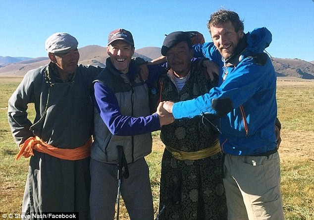 Mr Nash, second from left, with expedition partner Gareth Aston, far right, and two Mongolian friends, hours before he was murdered by Gantulga Batsukh