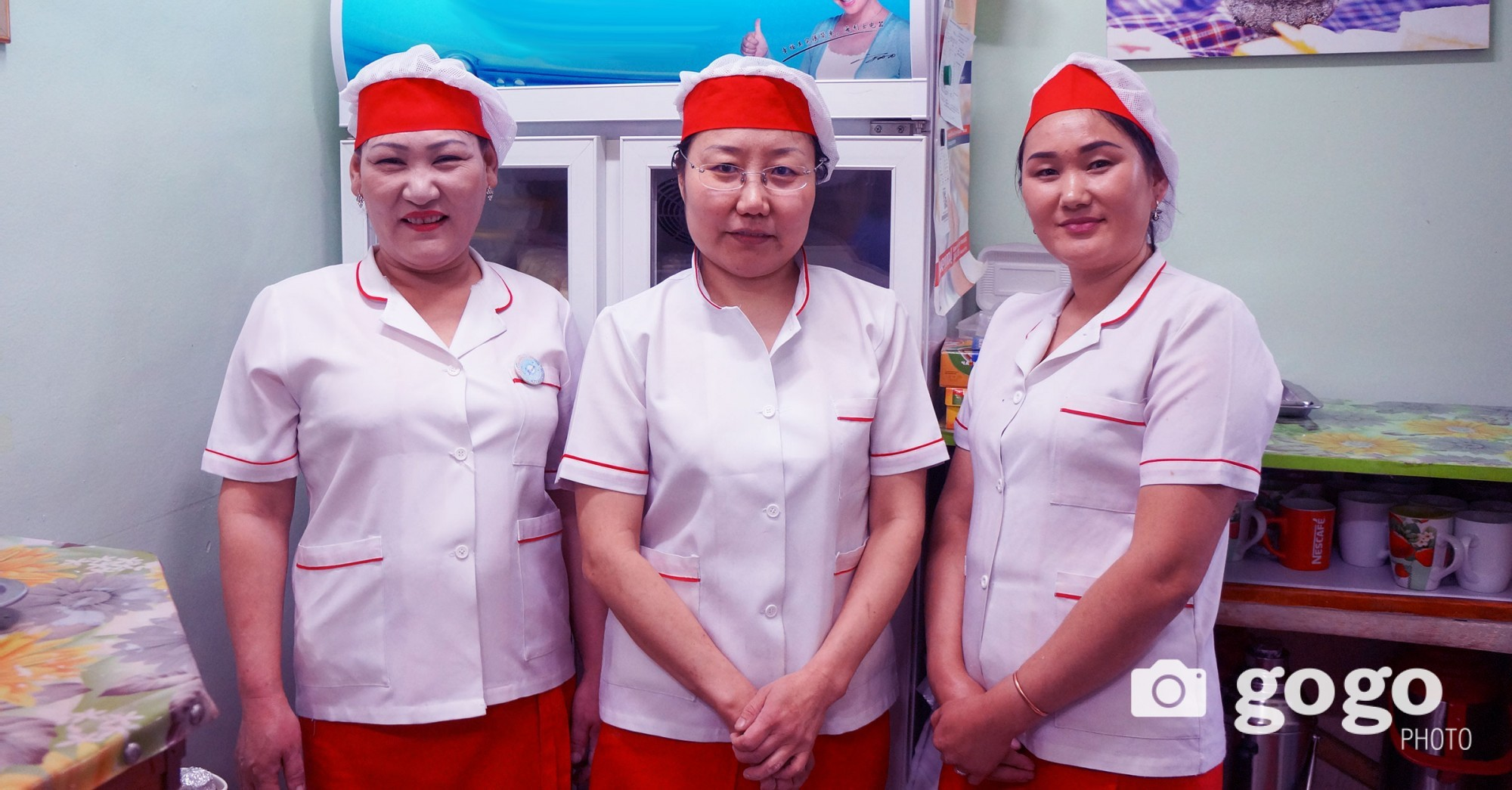 Ts.Altantsetseg, T.Tsolmon and Z.Narantuya work at  Maral restaurant. They want all women in Mongolia to be happy and good.